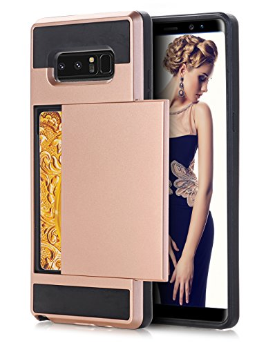 Samsung Phone Lock - Galaxy Note 8 Case, Slim Armor Premium Handcrafted Daker, with [Ultra Slim] Dual Layer Wallet Design and ID Credit[Card Slot] Holder for Samsung Galaxy Note 8 (Pink+Black)