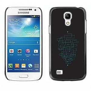 SAMSUNG Galaxy S4 mini (NOT FOR S4!!!) / i9190 / i9192 , Radio-Star - Cáscara Funda Case Caso De Plástico (Minimalist Maze Pattern)