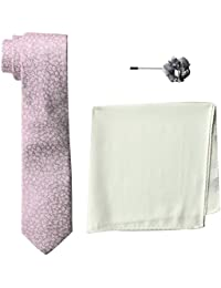 Men's 100% Silk Tie With Pocket Square & Lapel Pin Box Set