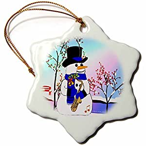 SmudgeArt Snowman in Spotlight with Saxophone Snowflake Porcelain Ornament, 3-Inch