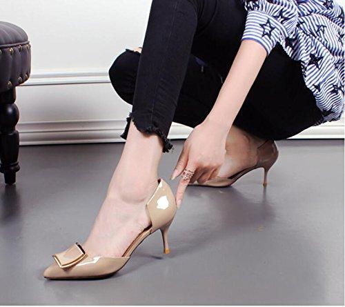 KHSKX-Le Printemps Et L'Automne De Nouvelles Chaussures Pointues Boucle De Cuir Chaussures Fines Talons Creux Beige YTLtxfi0a