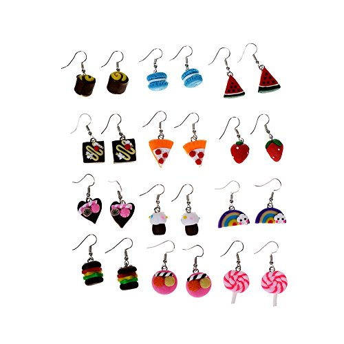 Cren Fashion Soft Ceramic Handmade Food Theme Stud Earrings Set of 12(Color - Set Earrings Ceramic