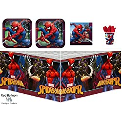 Spider-Man / Spiderman Webbed Wonder Party Supply Pack for 16 guests - plates, cups, napkins, tablecover bundle
