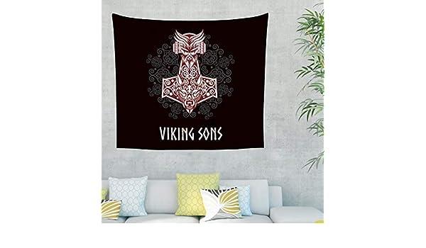 Martillo vikingo étnico Odin Casco Fenrir Wolf Tatuaje tapiz celta ...