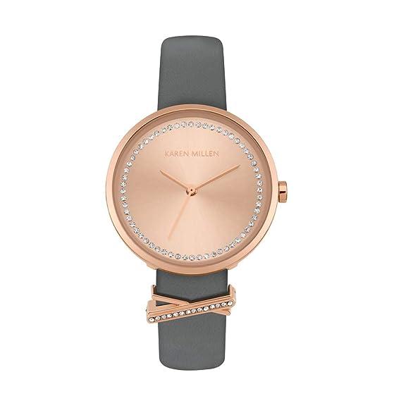 Reloj Mujer Karen Millen y Pulsera de Cuero Gris KM174E