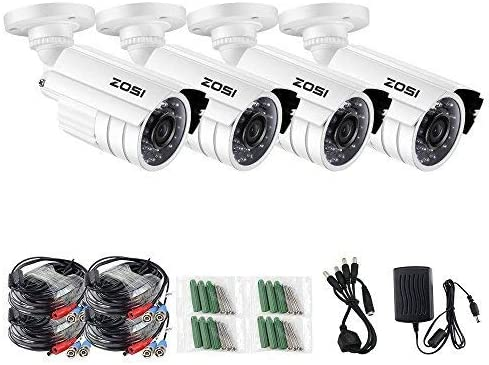ZOSI 720P HD-TVI Home Surveillance Camera System,4PCS Indoor Outdoor Weatherproof Security CCTV Camera with Infrared and Night Vision