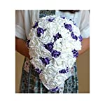 OOKi-Artificial Fake Flowers 1 Bouquet with 6 Silk 6″ Big Rose Head Flower Arrangements Wedding Bouquets Decorations Plastic Floral Table Centerpieces Home Kitchen Garden Party Décor (Mauve)