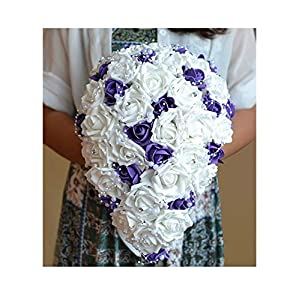 Buque Purple White Bridal Bouquet Artificial Waterfall Flowers Bride Smaid Romantic Handmade Pe Wedding Bouquet for Bride 15