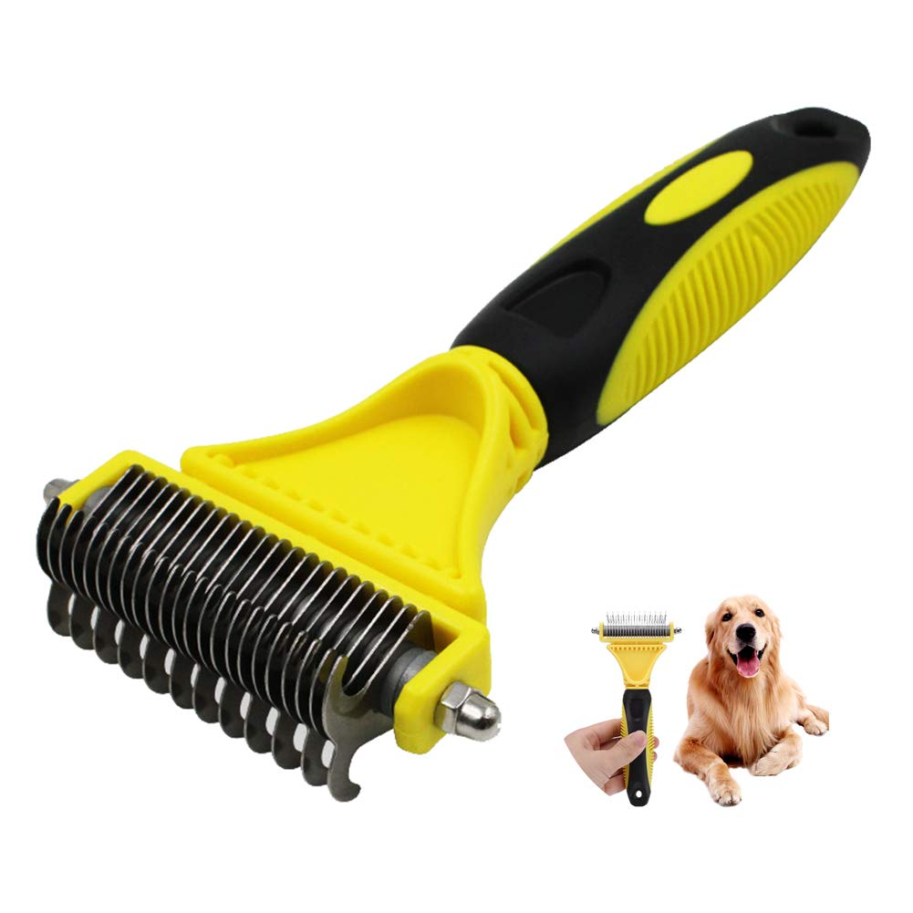 Double Sided Pet Comb Dog Grooming Rake, 23+12 Teeth Versatile Comb Grooming Scissor, Removes Tangles and Knots Easy and Gently