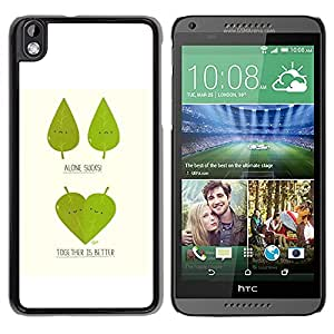 Be Good Phone Accessory // Dura Cáscara cubierta Protectora Caso Carcasa Funda de Protección para HTC DESIRE 816 // Funny Cute Leaf Tree Couple