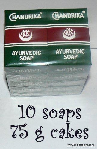10 Chandrika Ayurvedic Soap Rectangular Bars - MANUFACTURE DATE 2014, NO EXPIRATION DATE ON CHANDRIKA SOAPS Original Package rectangular soaps 75 g bars