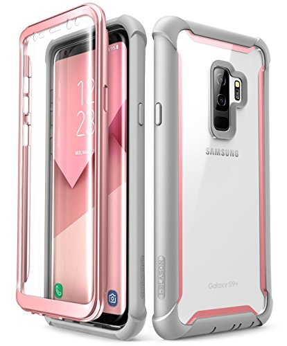 Samsung Galaxy S9+ Plus case, i-Blason [Ares] Full-Body Rugged Clear Bumper Case Built-in Screen Protector Samsung Galaxy S9+ Plus 2018 Release (Pink)