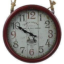 14 Retro Rustic Iron Hanging Wall Clock With Coffee Cappuccino Theme