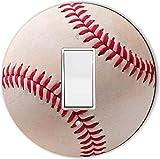 Rikki Knight RND-LSPROCK-55 Baseball Round Single Rocker Light Switch Plate, Red/White
