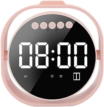 qiyanAlarm Reloj Super Bass Altavoz Pantalla de Espejo Altavoz Bluetooth inalámbrico Caja de Sonido Creativa Altavoz Bluetooth Bluetooth 4.2 en Pulgadas Altavoces portátiles Rosa: Amazon.es: Electrónica