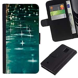 Planetar® Modelo colorido cuero carpeta tirón caso cubierta piel Holster Funda protección Para Samsung Galaxy Note 4 IV / SM-N910 ( Teal Rain Water River Reflective Blue )