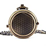 Retro Mens Bronze Archaize Half Double Hunter Skeleton Mechanical Roman Numerals Pocket Watch With Chain Gift