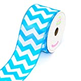 LUV RIBBONS by Creative Ideas 2-1/2-Inch Large Chevron Print Ribbon, 10-Yard, Turquoise