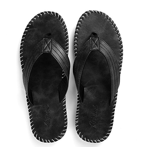 Flip PU Summer Slipper Sandals Men's Leather Beach Aerusi Flop Outdoor Black Thong qxg5UCwz