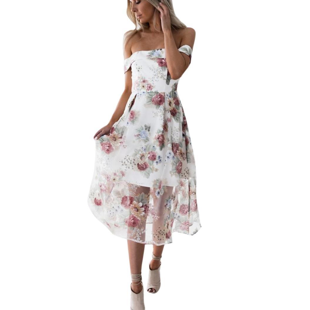 Kingfansion Women Summer Floral Ruffles Dress Off Shoulder Mini Dress Beach Party Dress (L, A)