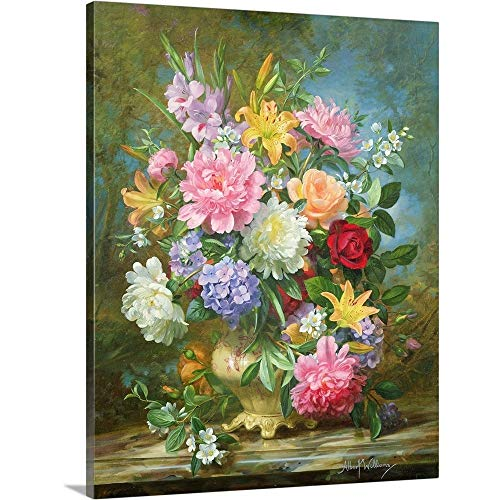 Peonies and Mixed Flowers Canvas Wall Art Print, 24 x30 x1.25