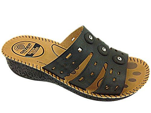 Señoras piel sintética Gezer Cut Out Summer slip on ligero bajo cuña Mule sandalias zapatos 3–8 negro