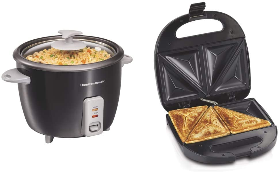 Hamilton Beach Rice Cooker & Food Steamer, 16 Cups Cooked (8 Uncooked), Black (37517) & Sandwich Maker, Makes Omelettes and Grilled Cheese, 4 Inch, Easy to Store (25430), BLACK