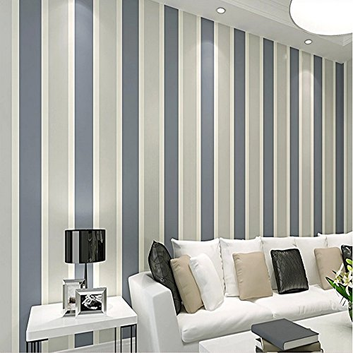 QIHANG Modern Minimalist Vertical Stripes Bedroom TV Background Non-woven Wallpaper Roll Dark Gray Color 0.53m10m=5.3SQM