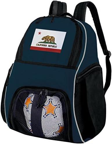 California FlagサッカーバックパックまたはCaliforniaバレーボールボールバックパック