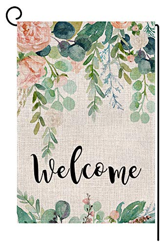 (Wedding Birthday Flower Welcome Garden Flag Small Vertical Double Sided 12.5 x 18 Inch Green Leaves Burlap Yard Outdoor)