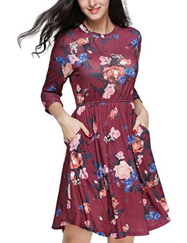 Dress Figure Skater T-shirts (Girl2Queen Women's Swing Tunic T-Shirt Dress Long Sleeve Burgundy Dress With Pocket)