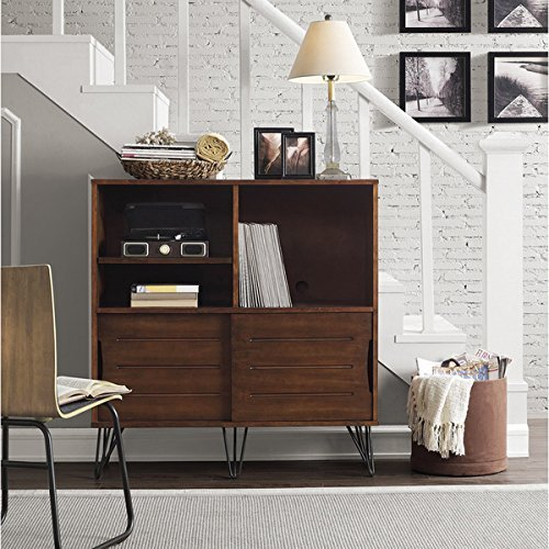 Birch Media Storage Cabinet - Rich Medium Walnut Finish Retro Clarence Multi-Functional Media Bookshelf Console Includes Our Exclusive Decorating eBook