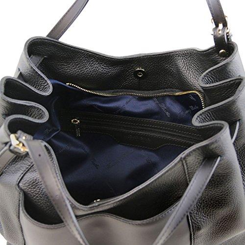 81415154 - TUSCANY LEATHER: CINZIA - Shopper Tasche aus weichem Leder, Schwarz