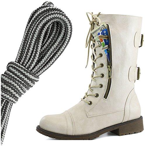 Dailyshoes Donna Militare Allacciatura Fibbia Da Combattimento Stivali Mid Knee Alta Esclusiva Tasca Per Carte Di Credito, Nero Grigio Scuro Bianco Avorio