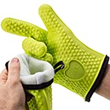 AYL XL/XXL Silicone Cooking Gloves - Heat Resistant Oven Mitt for Grilling, BBQ, Kitchen - Safe Handling of Pots and Pans - Cooking & Baking Non-Slip Potholders - Internal Protective Cotton Layer
