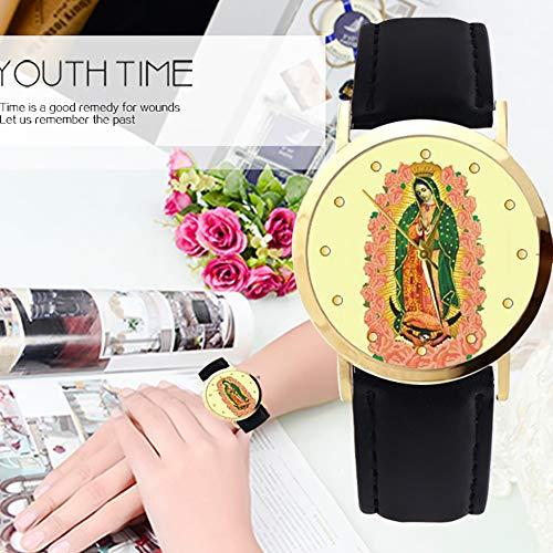 lightclub Christian Virgin Mary Flower Round Dial Faux Leather Strap Women Wristwatch - Black by lightclub (Image #6)