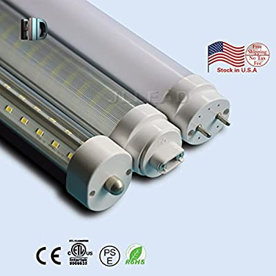 US warehouse 50 Pack Double rows T8 LED Light Tube V shape with ETL 8ft 48W R17D 6500K clear cover white daylight Work without ballast Work Shop Lighting Replacement for garage