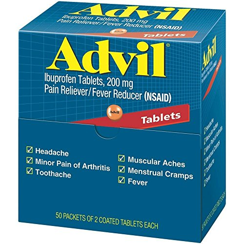 - Advil Ibuprofen, 200mg, 50 Packets of 2 Coated Tablets (Pack of 4)