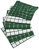 DII 100% Cotton, Machine Washable, Ultra Absorbant, Basic Everyday 12 x 12 Terry Kitchen Dish Cloths, Windowpane Design, Set of 6- Dark Green
