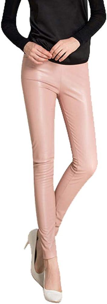 MEIHAOWEI Leggings Sexy Mujer Pantalones Capris de Cintura Alta Leggings Pantimedias Leggings Sintéticos Pantalones Imitación de Cuero