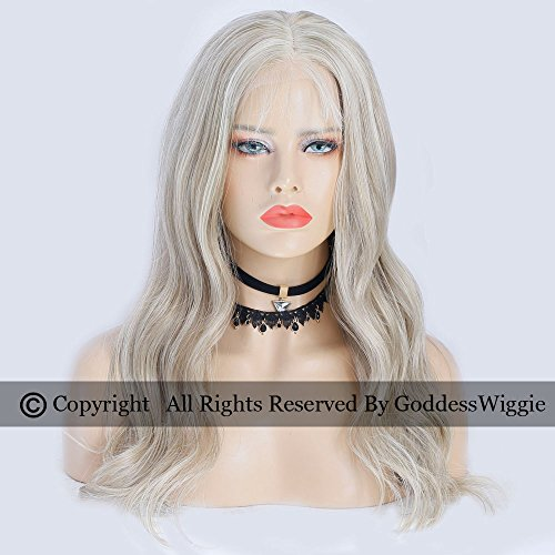 Goddess Wiggie Human Remy Hair Lace Front Ombre Wigs Blonde Human Hair Balayage Wigs Long Body Wavy Wigs For Women (18inch 150density) by Goddess