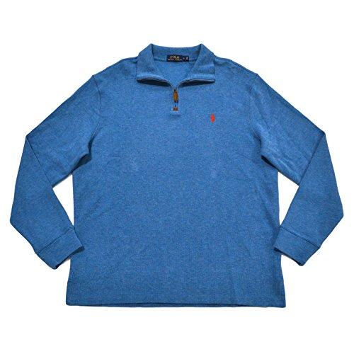 Polo Ralph Lauren Men's FrenRib Quarter Zip Sweater (L, Marine Heather)