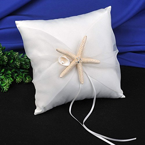 AW Wedding Ring Bearer Pillow - Beach Theme Ivory Wedding Ring Holder with Starfish (Best Flowers For Beach Wedding)