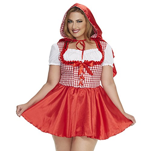 Mystery House Women's Plus-Size Red Riding Hood, Red/White, 2X