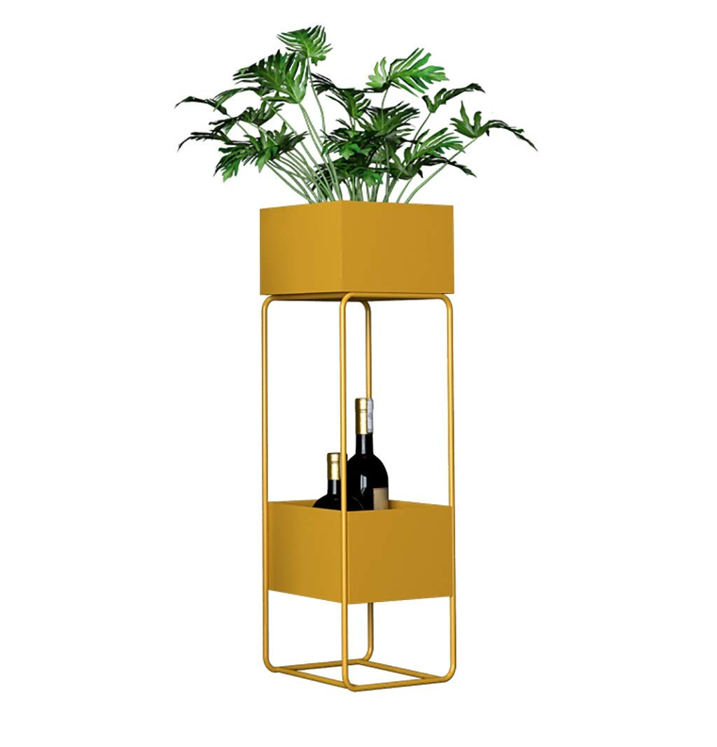 NDD 2 -Storey Flower Stand Garden Decoration Vertical Metal Plant Display Stand Indoor and Outdoor Balcony Decoration (Color : Gold)
