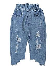 Kidscool Space Irregular Ripped Raw Edge Loose Figure Flattering Jeans