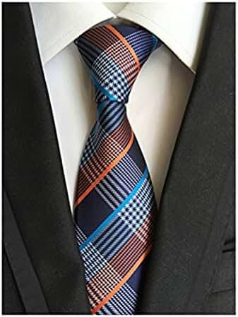 MINDENG New Classic Striped White Black Streak 100% Silk Men'S Tie Necktie Ties