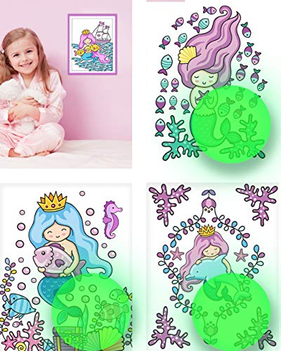 Mermaid Wall Decor, Glow in The Dark 4 Posters for Girls Bedroom,Glowing Pictures, Birthday Gift for for Little Kids Nursery, Toddlers, Room Decoration.