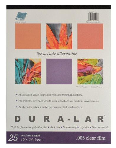 Grafix Clear 0.005 Dura-Lar Film, 19-Inch by 24-Inch, 25 Sheets P05DC1924