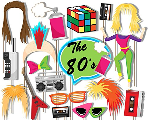 Birthday Galore 80's Totally Awesome Photo Booth Props Kit - 20 Pack Party Camera Props Fully Assembled by Birthday Galore